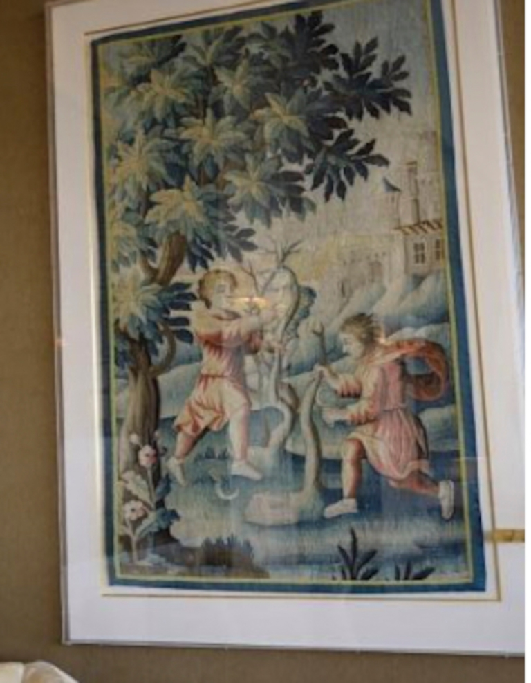 left pair of aubusson stule verdure tapesety panels_