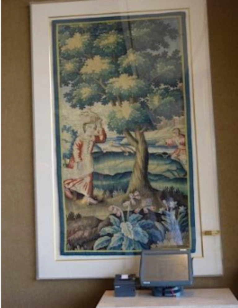 right pair of aubusson style verdure tapestry panel